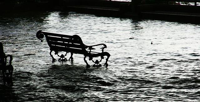 zaplavená lavička